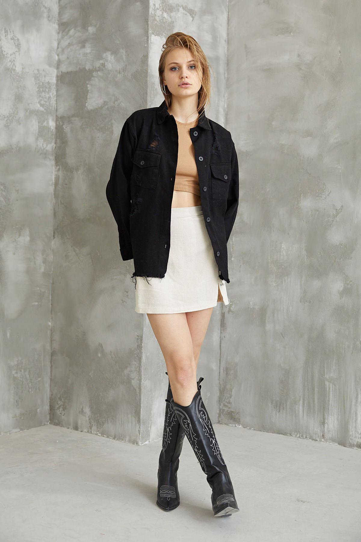 Yırtık Detay Ceket-Siyah