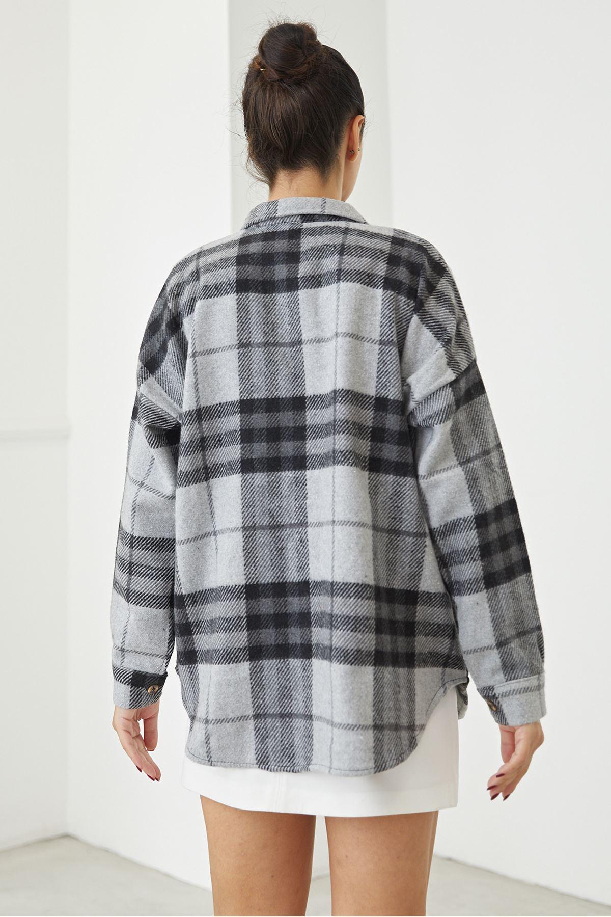 Cep Detay Oduncu Gömlek-Gri