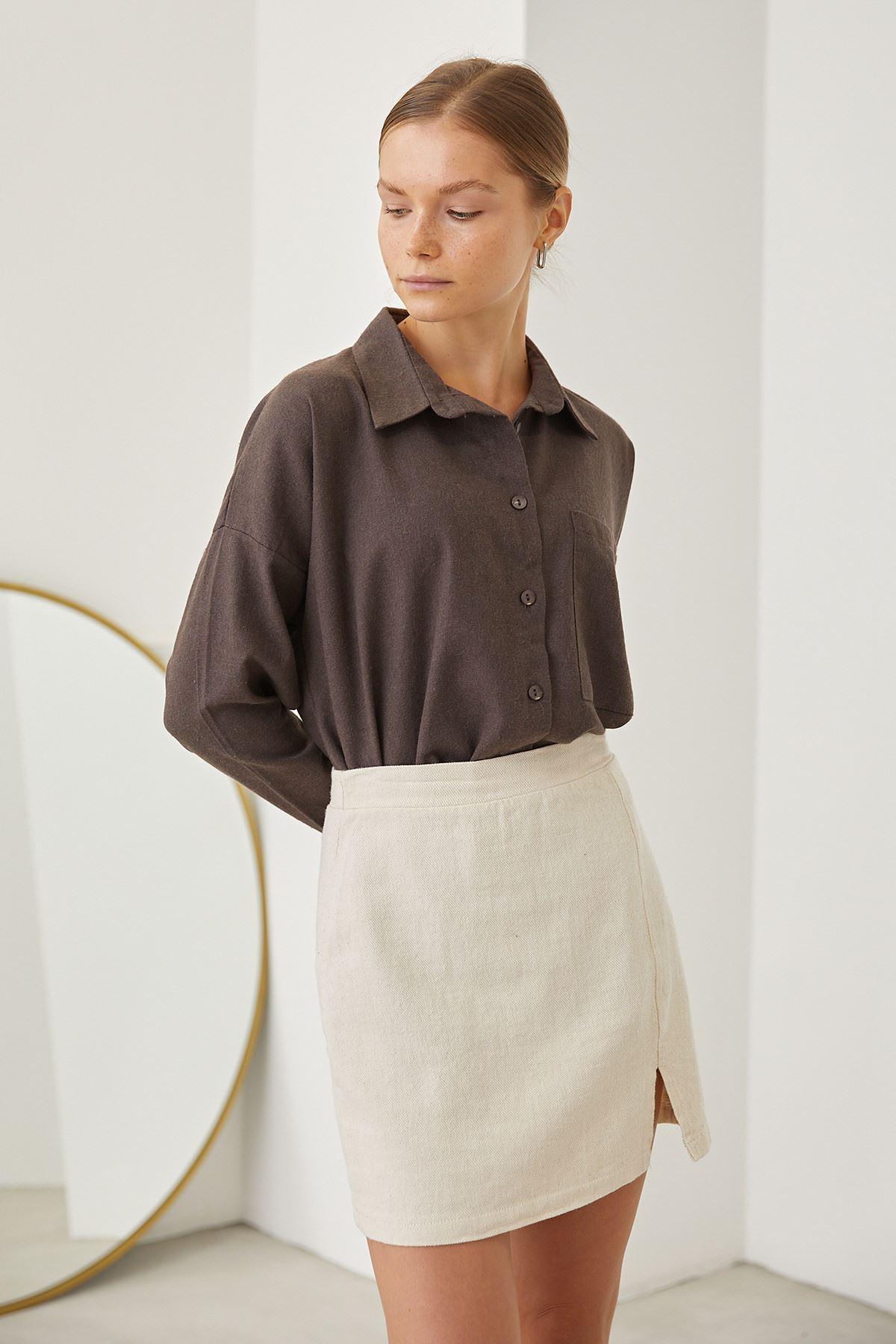 Cep Detay Klasik Gömlek-Kahve