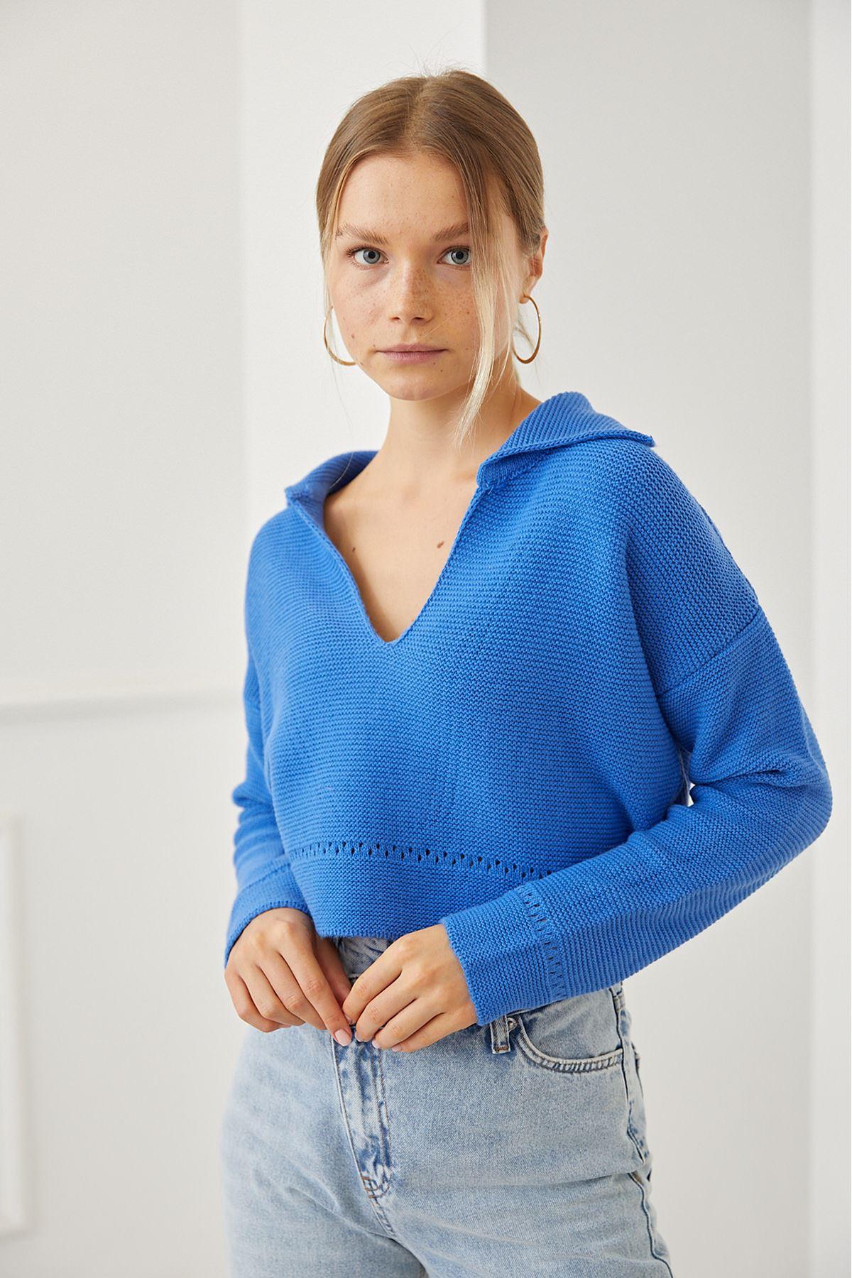 Gömlek Yaka Kazak-Mavi