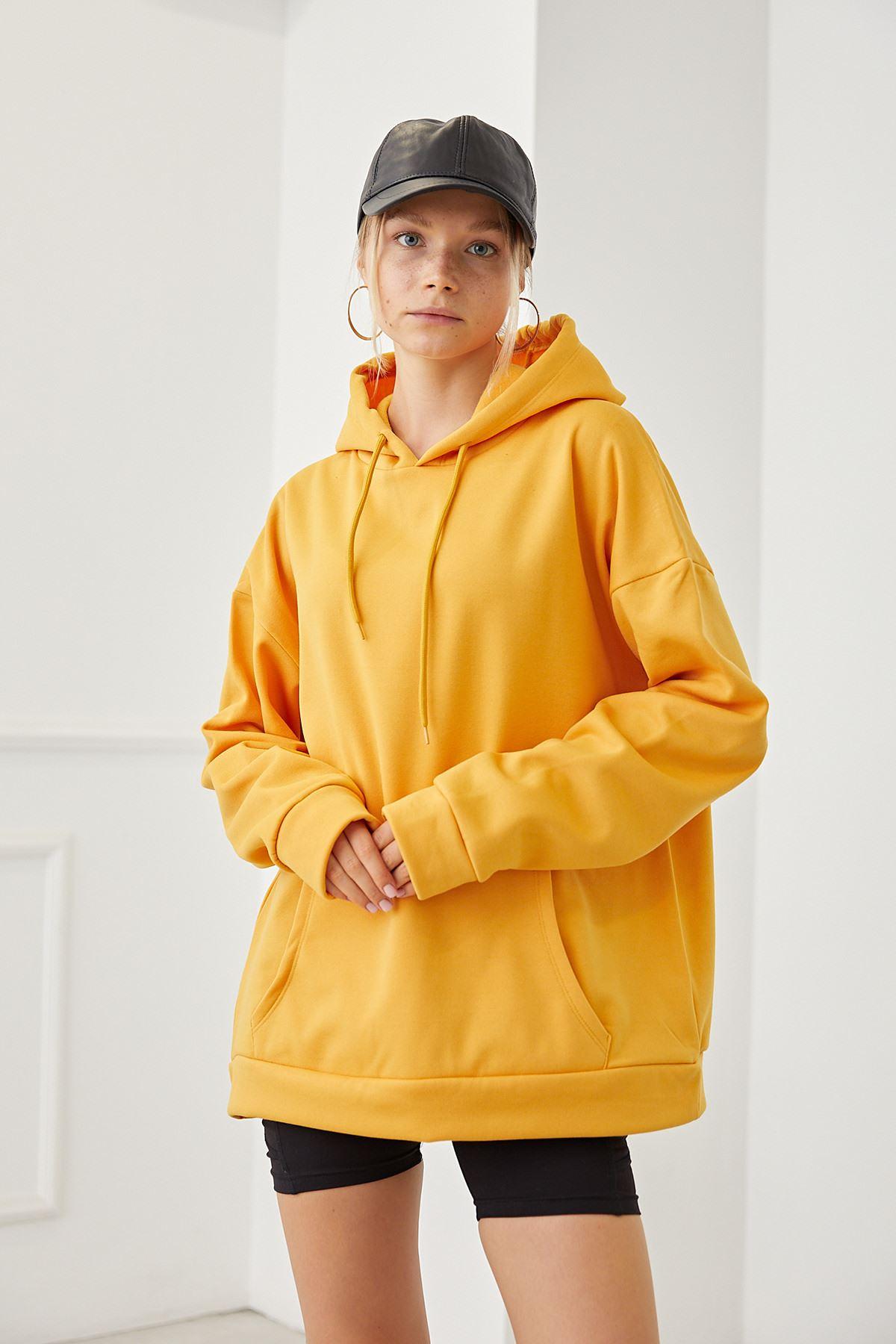 Cep Detay Kapşonlu Sweat-Sarı