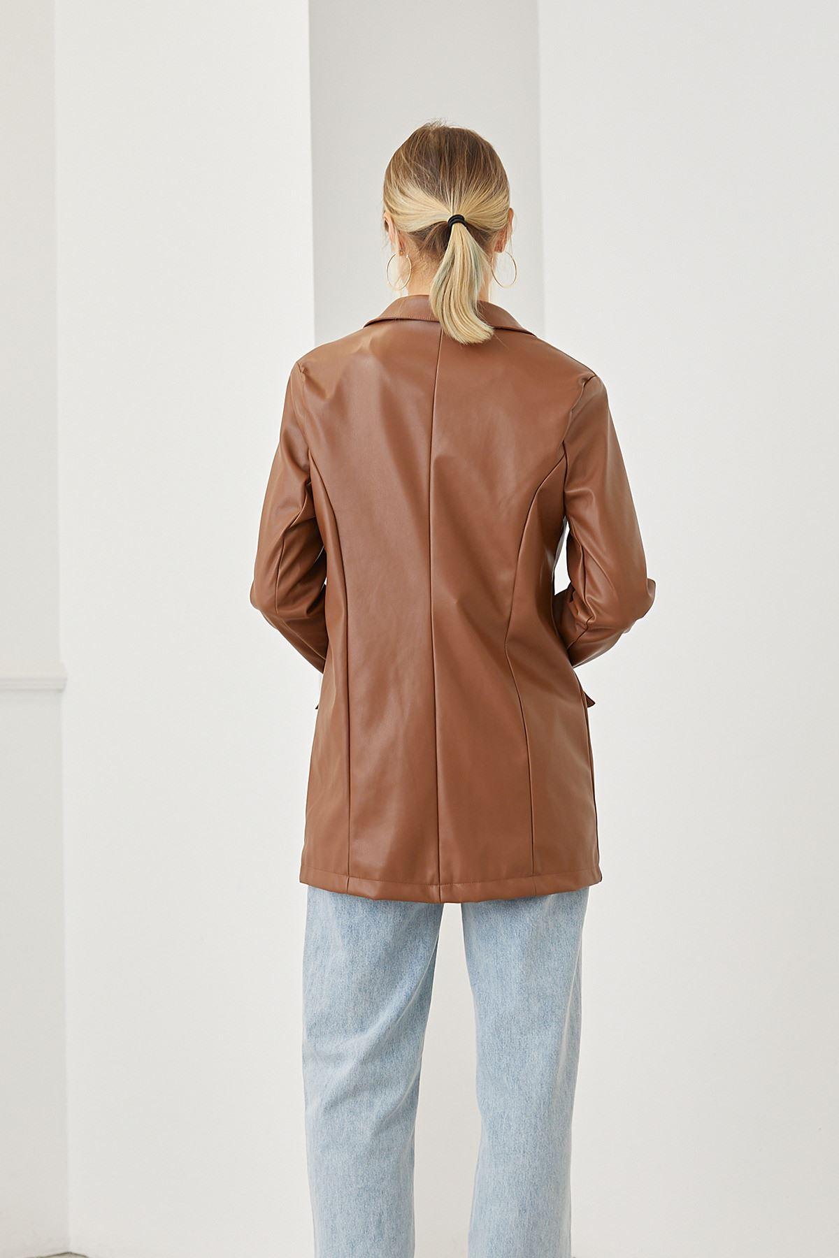Düğmeli Deri Ceket-Camel